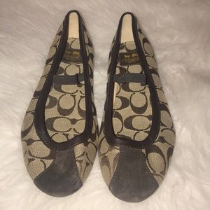 Coach Judey brown suede tip and strape flats